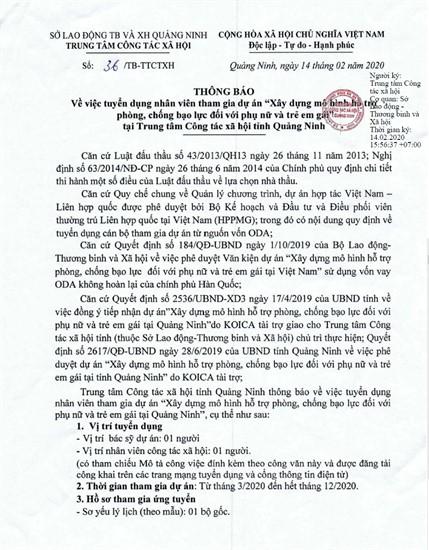 """Thông báo tuyển dụng nhân viên tham gia dự án """"Xây dựng mô hình hỗ trợ  phòng, chống bạo lực đối với phụ nữ và trẻ em gái""""  tại Trung tâm Công tác xã hội tỉnh Quảng Ninh"""