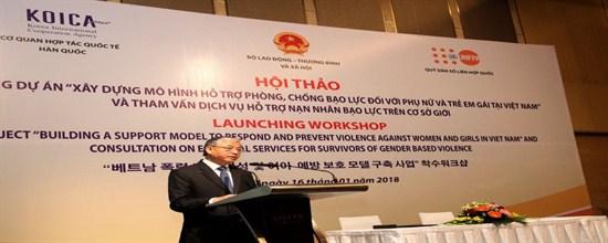 """Hội thảo khởi động dự án """"Xây dựng mô hình hỗ trợ phòng, chống bạo lực đối với phụ nữ và trẻ em gái tại Việt Nam và tham vấn dịch vụ hỗ trợ nạn nhân bạo lực trên cơ sở giới"""""""